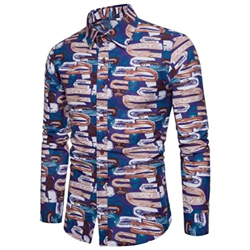 Mens Print Dress Shirt Casual Flax Classic Retro Abstract Long Sleeve Blouse Zulmaliu (L, Purple) by Zulmaliu-Shirts 2018