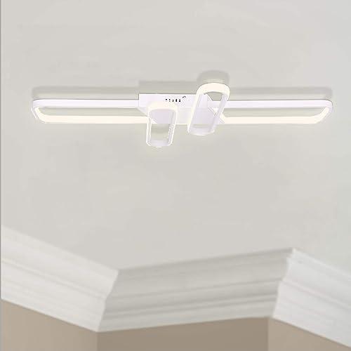 Leniure White Square Modern LED Light Ceiling Lamp Chandelier Lighting Fixture 35.4″ Wide 21.7″ Deep 2.4″ High