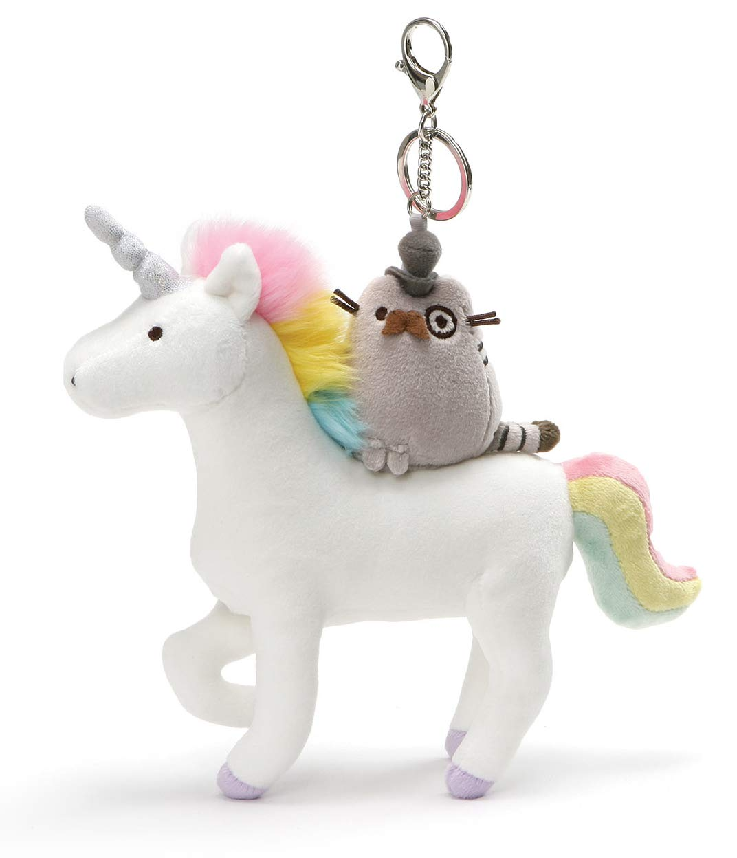 GUND Pusheen Fancy and Unicorn Magical Kitties Plush Deluxe Keychain Clip, Multicolor, 8.5