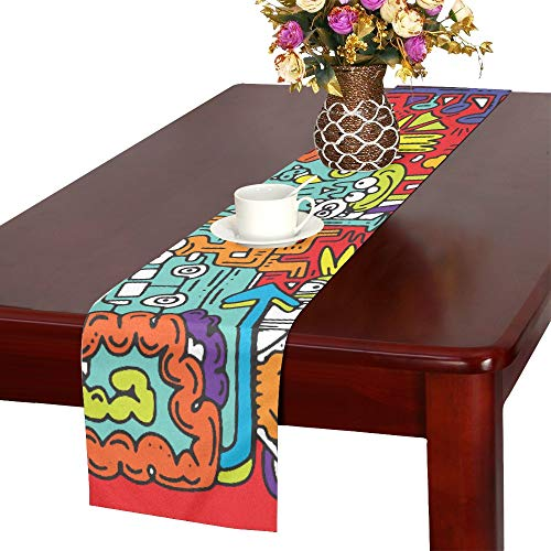AIKENING Hand Drawn Vector Illustration of Doodle Funny Cit Table Runner, Kitchen Dining Table Runner 16 X 72 Inch for Dinner Parties, Events, Decor -