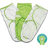 Baby Swaddle Blanket Wrap Set (3 Pack) Green, Grey Chevron, Dot, Solid