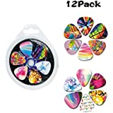 Cheerhas Celluloid-12 Pack Guitar Picks Girly Set Accorted Colorful Pattern Set -Best Gifts for Girls Kids Teens Daughter Granddaughter Women-0.71mm (0.71mm+12PCS, As Picture)