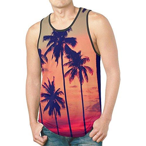 INTERESTPRINT Sunset Palm Tree Men's Tank Tops T-Shirt Gym Workout S