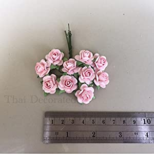 100 Pcs Hight Quality Pink Color Mulberry Paper Flowers of Wedding Roses : 15mm. By Thai Decorated' 4