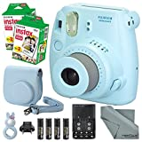 Fujifilm Instax Mini 8 Blue Camera and Deluxe Accessory Bundle with Instax Mini Films, Batteries and Charger, Blue Case, Blue Rabbit Selfie Lens, and More