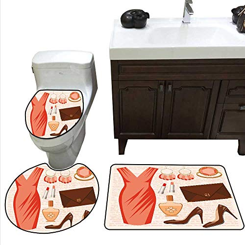 (Heels and Dresses Bathroom Rug Set Accessories Fashion Cocktail Dress Lipstick Earrings High Heels bathmat Toilet mat Set Salmon Brown Peach)