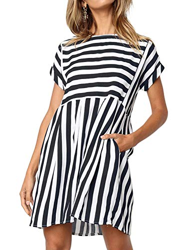 (Naggoo Pockets Dresses for Women,Short Sleeve Striped Back Zipper A Line Fit and Flare Dresses)