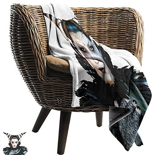 Sillgt Baby Blanket Fantasy Portrait of a Gothic Lady with a Carnival Costume Black Lipstick and Hair Horns Portable Car Travel Cover Blanket 70