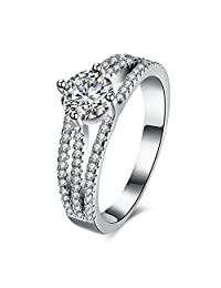 Women's 925 Sterling Silver 3 Lines Cubic Zircon Bridal Wedding Band Eternity Engagement Promise Ring