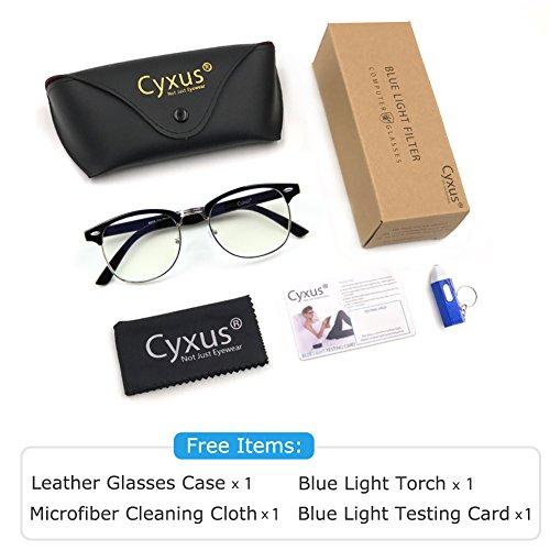 Cyxus Blue Light Blocking [Semi-Rimless] Computer Glasses, Anti UV Eye Strain Clear Lens Reading Video Eyewear, Men/Women by Cyxus (Image #7)