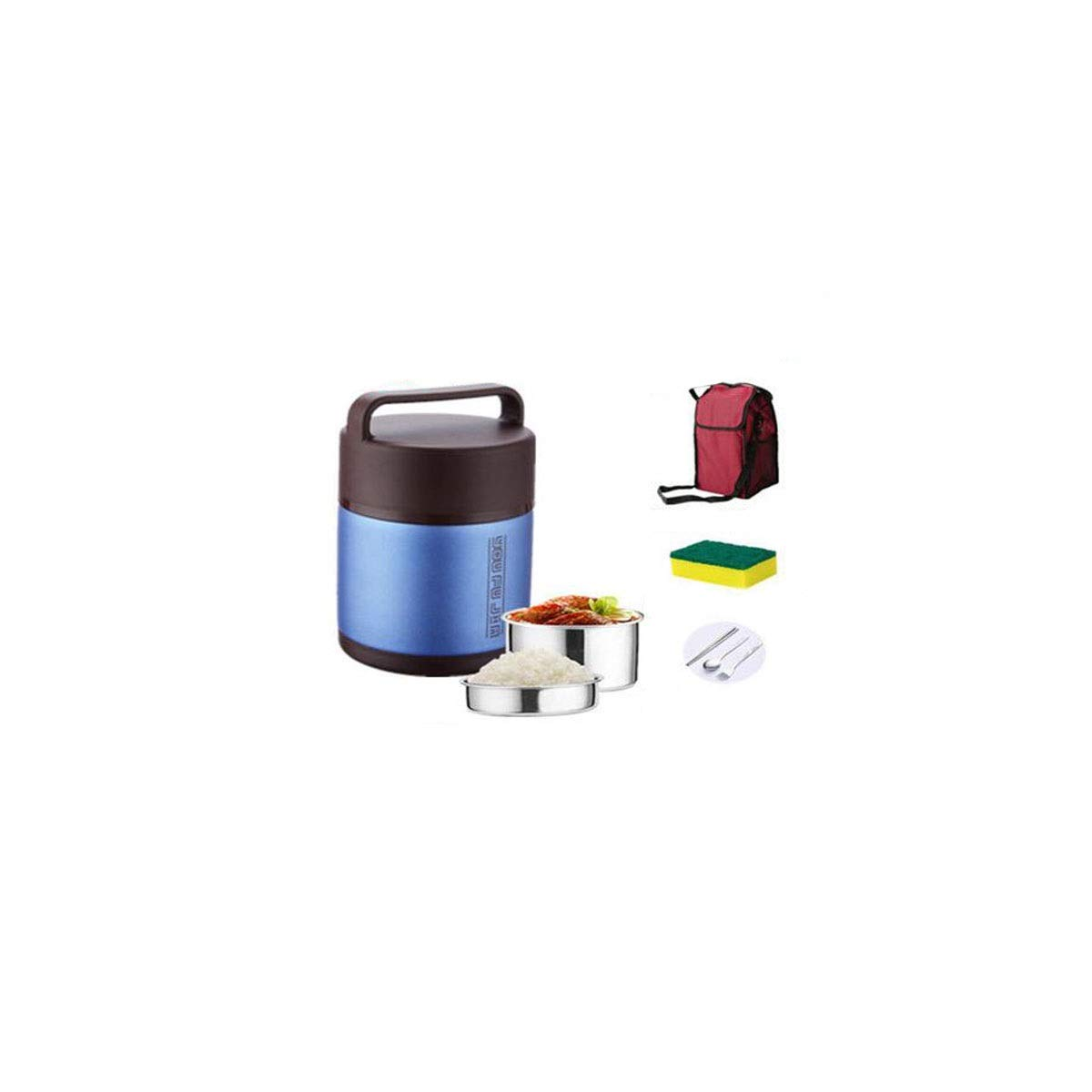 Vaso in Acciaio Inox con Isolamento sottovuoto Chengjinxiang Thermos Regali Resistente allUsura Blu 2 Litri da Pranzo allaperto Adatto per la Famiglia Thermos per Pranzo