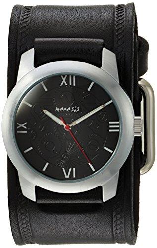 Mens Elite Bracelet Watch - Nemesis Men's HST068K Elite Collection Silver-Tone Watch with Black Genuine Leather Cuff Bracelet