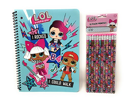 L.O.L. Surprise! School Supplies Spiral Notebook and Pencils-2 Piece Set by Innovative Designs