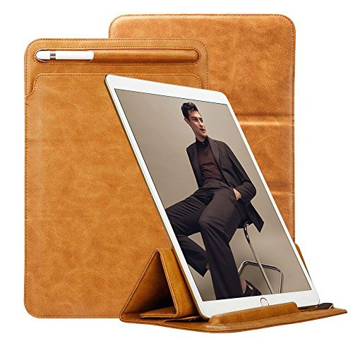 iPad Pro 12.9 Case Apple Pencil Holder TOOVREN Tri-fold Stand Soft Leather PU Microfiber Lining iPad Pro Sleeve Cover Keyboard Compatible for 2017 Apple iPad Pro 12.9 Inch (Leather Transit Case)