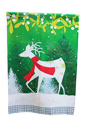 House Flag Yard Decoration; 28 inches by 40 inches (White Christmas Deer with Scarf) by Lantern Hill