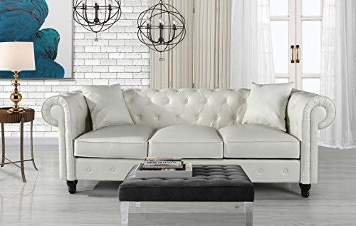 Classic Living Room Bonded Leather Scroll Arm Chesterfield Sofa - Sofa White Couch