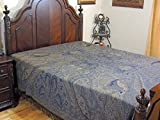 NovaHaat Unique Paisley Pattern Woven REVERSIBLE 100% Wool Pari Mahal (Abode of Fairies) Bedding in Midnight Blue and Beige - from Kashmir, India - Queen 108'' x 90'' - Also Use as Throw