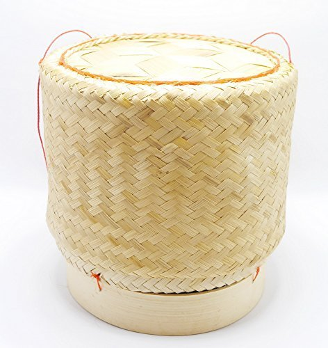 White Orchid Sticky Rice Bamboo Basket Thai Laos Traditional Handmade to Keep Sticky Rice Warm (Extra Large 9*9)