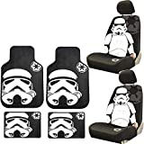 U.A.A. INC. 8PC Star Wars Stormtrooper Seat Covers Front & Rear Rubber Floor Mats Universal