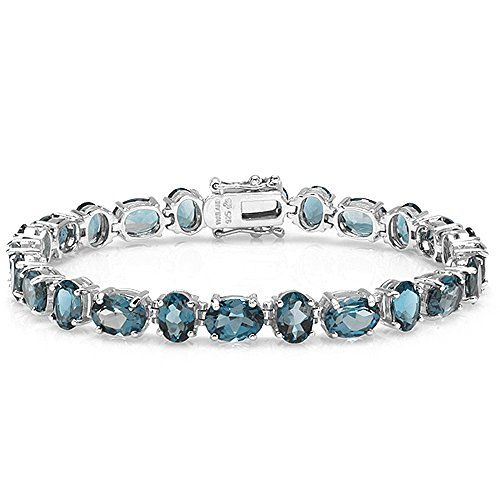 31.00 CT Real Oval Cut Genuine Blue Topaz Sterling Silver Tennis Bracelet (6 MM Width x 7.75 Inch Length) by DazzlingRock Collection
