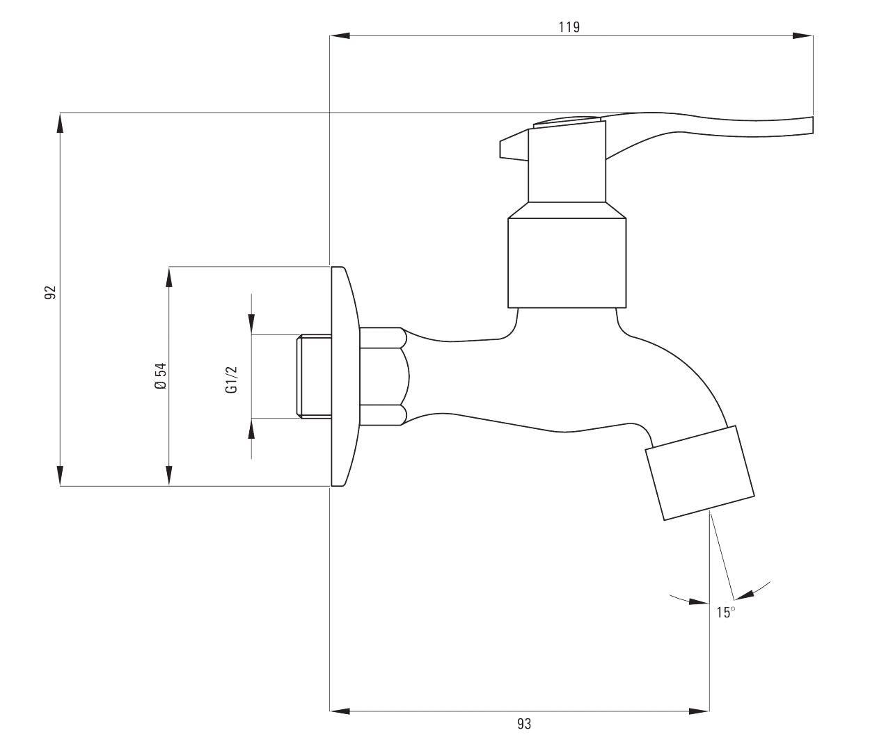 Cromado de agua fr/ía del grifo mezclador de jard/ín al aire libre de 1//2 con aireador y el adaptador