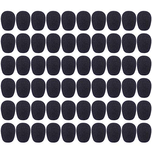 Auihiay 60 Pack Headset Microphone Windscreens Mini Mic Foam Cover for Headset Lapel Lavalier (Black)