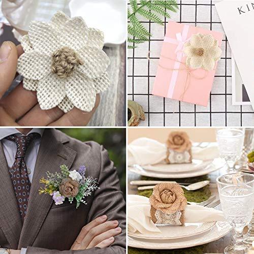 VGOODALL 32 Natürliche Sackleinen Blumen Set, 32 Handgefertigte Jute-Blumen für DIY Kunst Handwerk Hochzeit Dekoration