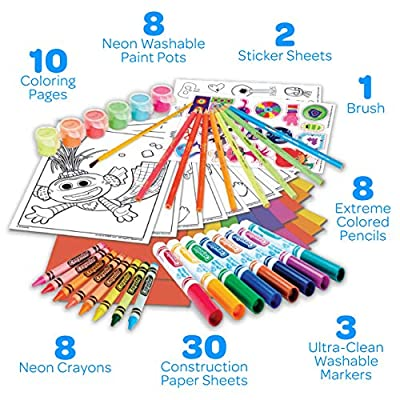 Crayola Trolls World Tour, Neon Create & Color Art Set, Over 70 Art Supplies, Gift for Kids, 5, 6, 7, 8, Multi: Toys & Games
