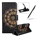 Rope Leather Case for iPhone 6S Plus,Strap Wallet Case for iPhone 6 Plus,Herzzer Bookstyle Classic Elegant Mandala Flower Pattern Stand Magnetic Smart Leather Case with Soft Inner for iPhone 6 Plus/6S Plus 5.5 inch + 1 x Free Black Cellphone Kickstand + 1 x Free Black Stylus Pen - Black