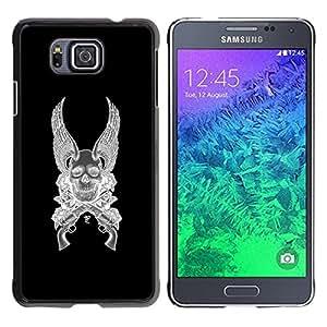 """For Samsung Galaxy Alpha G850 Case , Alas del ángel de la muerte armas Revolver Negro"""" - Diseño Patrón Teléfono Caso Cubierta Case Bumper Duro Protección Case Cover Funda"""