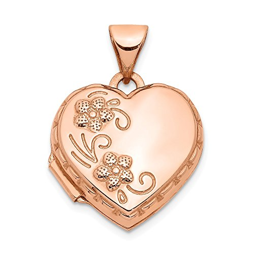 Jewelry Pendants & Charms Lockets 14k Rose Gold 15mm Domed Heart Locket