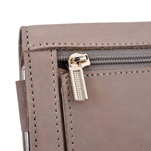 Kroo Pochette en cuir véritable téléphone portable Housse pour Asus ZenFone 5Lite a502cg gris