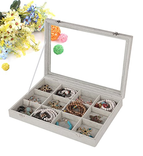 Wuligirl Ice Velvet 12 Grid Jewelry Case Storage Rings Earrings Bracelet Display Glass Top With Lock Removable