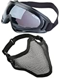 2 in 1 Protection Steel Mesh Face Mask with X400 UV Safety Goggles Airsoft Paintball, Black