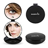 Easehold LED lighted Folding Travel Makeup Mirror, 1X/7X Handheld Double Sided Magnifying Cosmetic Vanity Mirror, Black