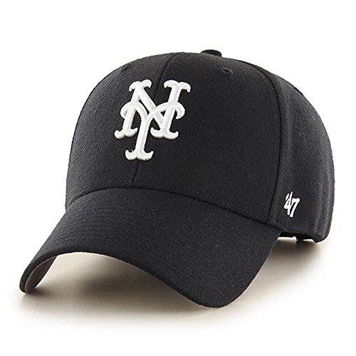 New York Mets Baseball Cap - '47 Brand New York Mets MVP Dad Hat Cap MLB Black/White