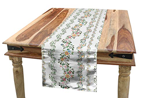 Lunarable Floral Table Runner, Flowers Ivy Plant Blossoms Buds Leaves in a Line Watercolored Art Print, Dining Room Kitchen Rectangular Runner, 16