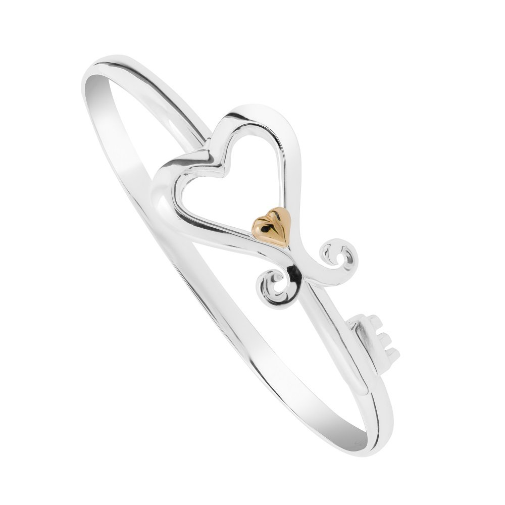 Key To Her Heart 6 mm Sterling Silver Bangle with interlocking 14 Karat Solid Gold Heart (8.0)