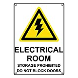 Weatherproof Plastic Vertical Electrical Room Storage Sign with English Text and Symbol