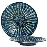 Set of 2 Pieces Japanese 7.5'' Diameter Porcelain Dark Blue Tokusa Lines Dinnerware Serving Plates