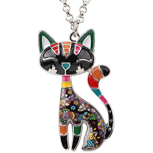 Bonsny  Enamel Cat Pendant
