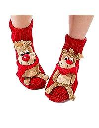 Valentoria Christmas Socks 3D Animal Non-Slip Household Floor Socks Winter Slipper Women Christmas Tree Decor Christmas Stockings Best Gifts Kids (Cute Elk)