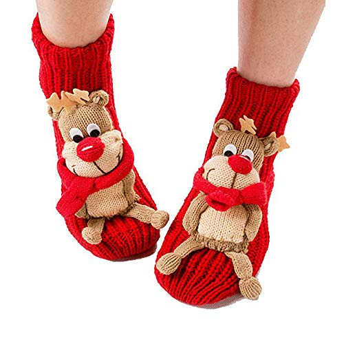 Prime Sale Day Deals Sale Offers 2019-Christmas Socks 3D Animal Non-Slip Household Floor Socks Winter Slipper for Women Christmas Tree Decor Christmas Stockings Best Gifts for Kids (Cute Elk) (Best Cyber Monday Toy Deals 2019)