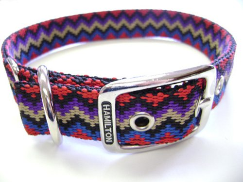 Hamilton Double Thick Nylon Deluxe Dog Collar, 1-Inch by 22-Inch, Weave Multi-Pattern, Black