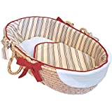 Hoohobbers Ruffled Moses Basket, Stellar Stripes