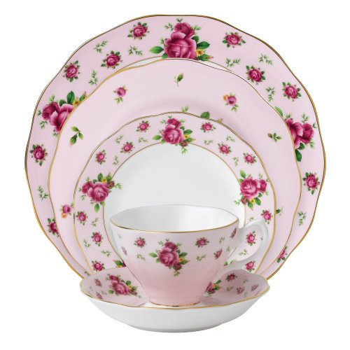 Royal Albert New Country Roses Pink 5-Piece Place Setting (Royal Albert Rose Confetti Teapot)