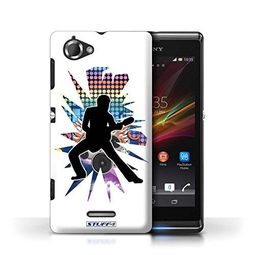Etui / Coque pour Sony Xperia L/C2105 / étendre Blanc conception / Collection de Rock Star Pose
