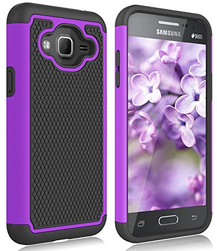 Galaxy J3 Case, Galaxy Sky, Galaxy Express Prime Case, Galaxy Sol, Galaxy Amp Prime Zectoo Hybrid Shockproof Tough Rugged Dual Layer Defender Protective Case Cover for Samsung Galaxy J3/J3 V - Violet