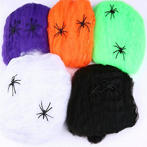 [Juenana Mini Colorful Stretchable Spiderweb Cobweb Halloween Prop Party Decoration] (Spider Web Eye Makeup)
