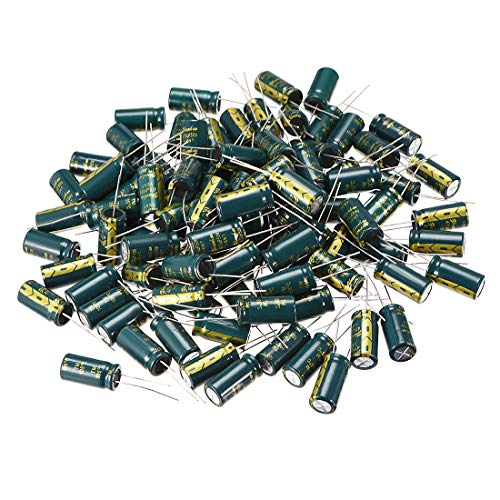 uxcell Aluminum Radial Electrolytic Capacitor Low ESR Green with 470UF 50V 105 Celsius Life 3000H 10 x20 mm High Ripple Current,Low Impedance 100pcs